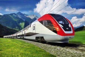 Поезд РЖД в пути