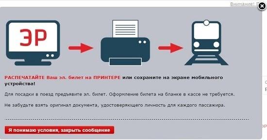 Распечатка электронного билета РЖД
