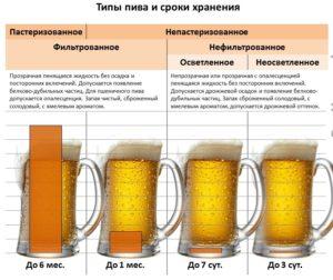 Типы пива и сроки хранения
