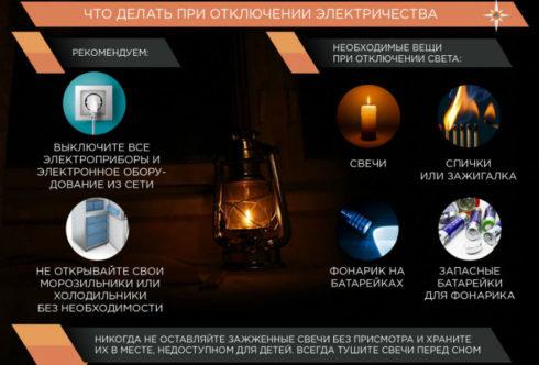 Действия при отключении электричества
