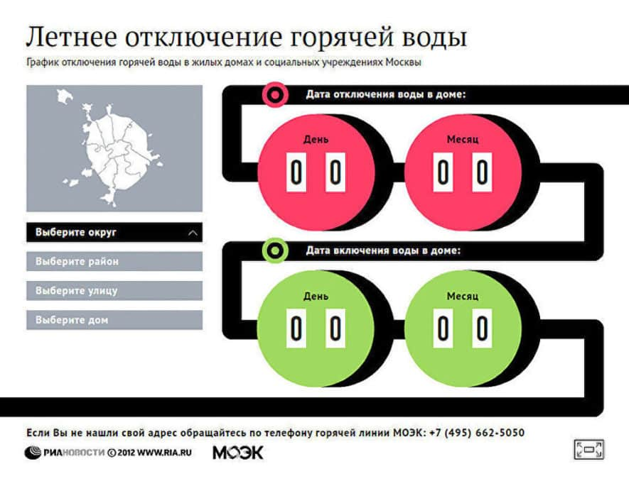 Отключение горячей воды в москве 2019