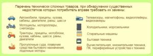 Перечень технически сложных товаров, при обнаружении существенных недостатков которых потребитель вправе требовать их замену